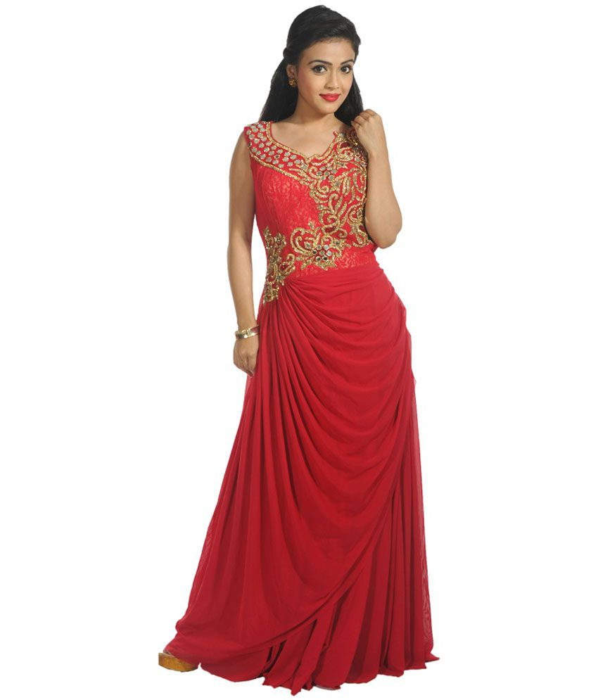 Kanchan Red Net Stitched Suit