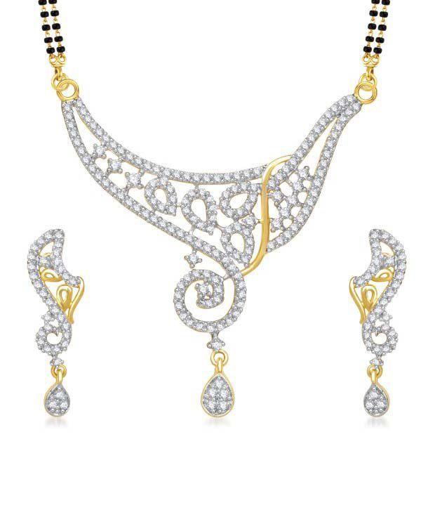 Meenaz Queen Cz Gold & Rhodium Plated Mangalsutra Set