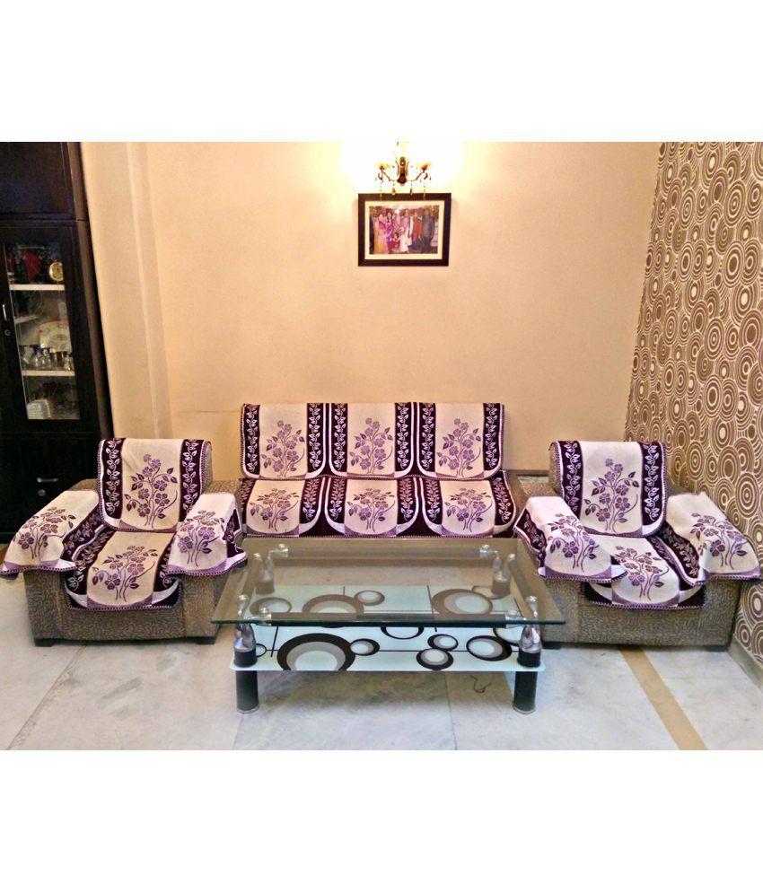 Shc Ajanta Purple Reversible Sofa Slipcover Set With 6