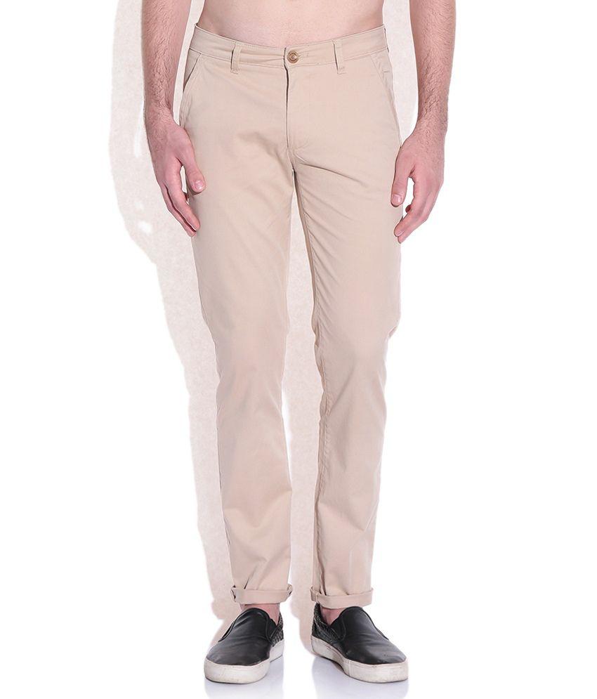 American Swan Beige Slim Fit Trousers