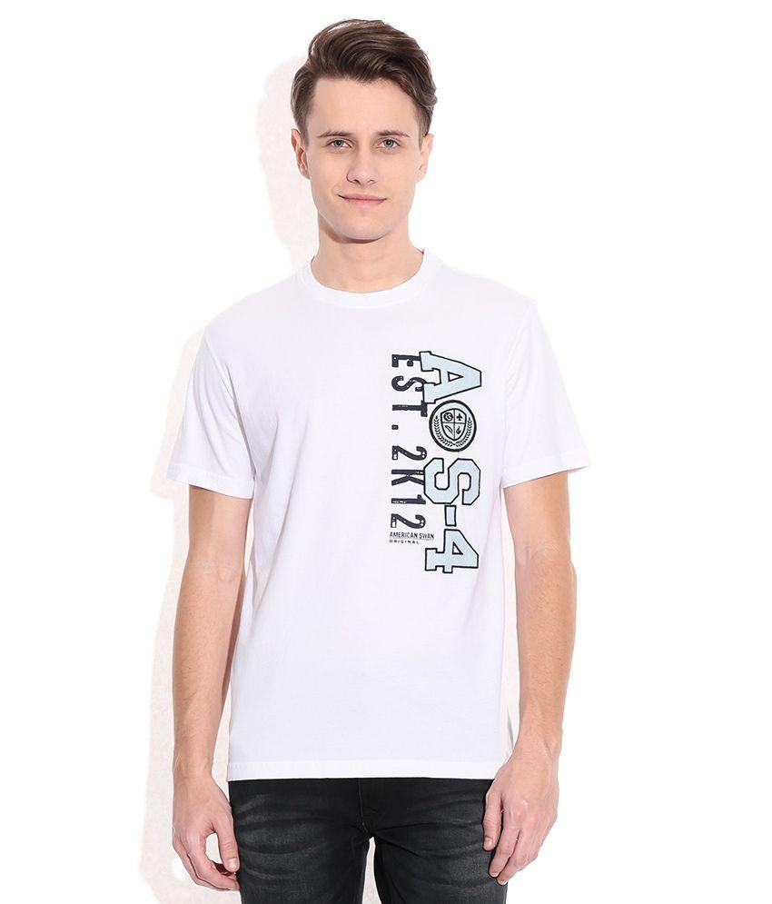 American Swan White Round Neck T-Shirt