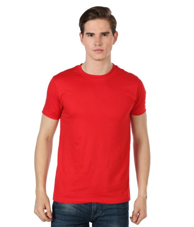 Close Knit Red Half Sleeves Round Neck T-Shirt