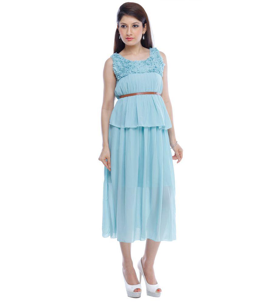Designeez Blue Chiffon Maxi Dress