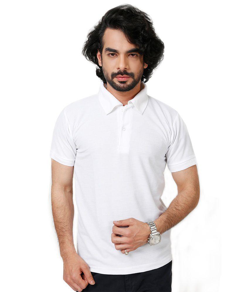 Elligator White Blend Polos Sports Wear For Men