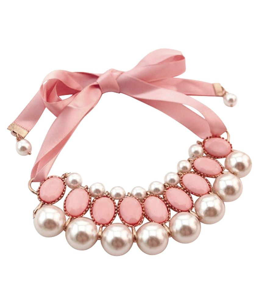 Stylovy Pink Alloy Choker Coloured Bead Necklace