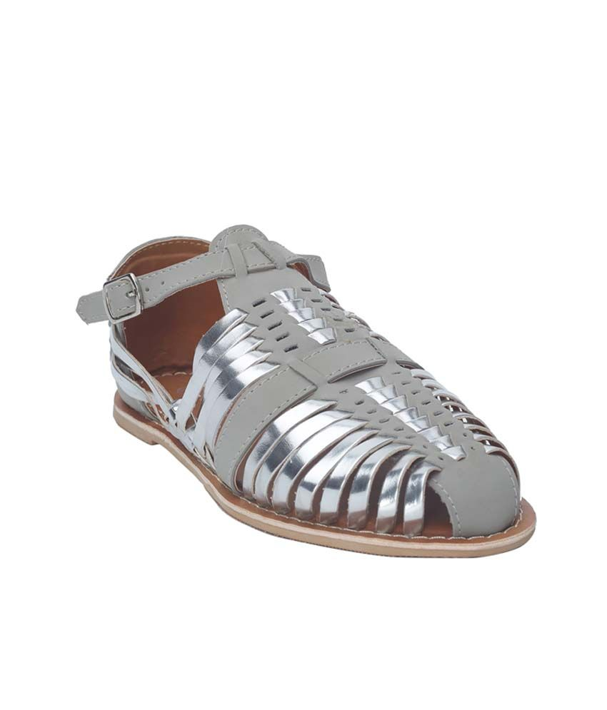 Berry Purple Gray Faux Leather Sandal