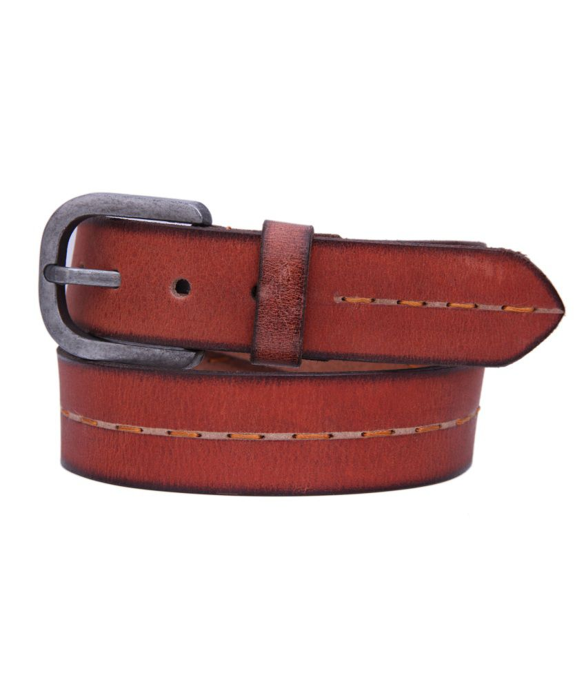 Checkmate Tan Leather Casual Belt For Men