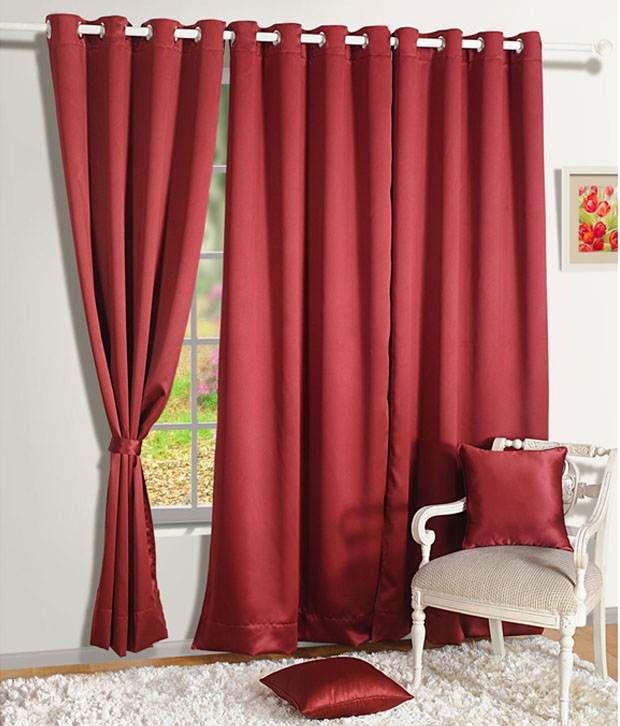 HOMEC Set of 4 Door Blackout Eyelet Curtains Solid Black&Red