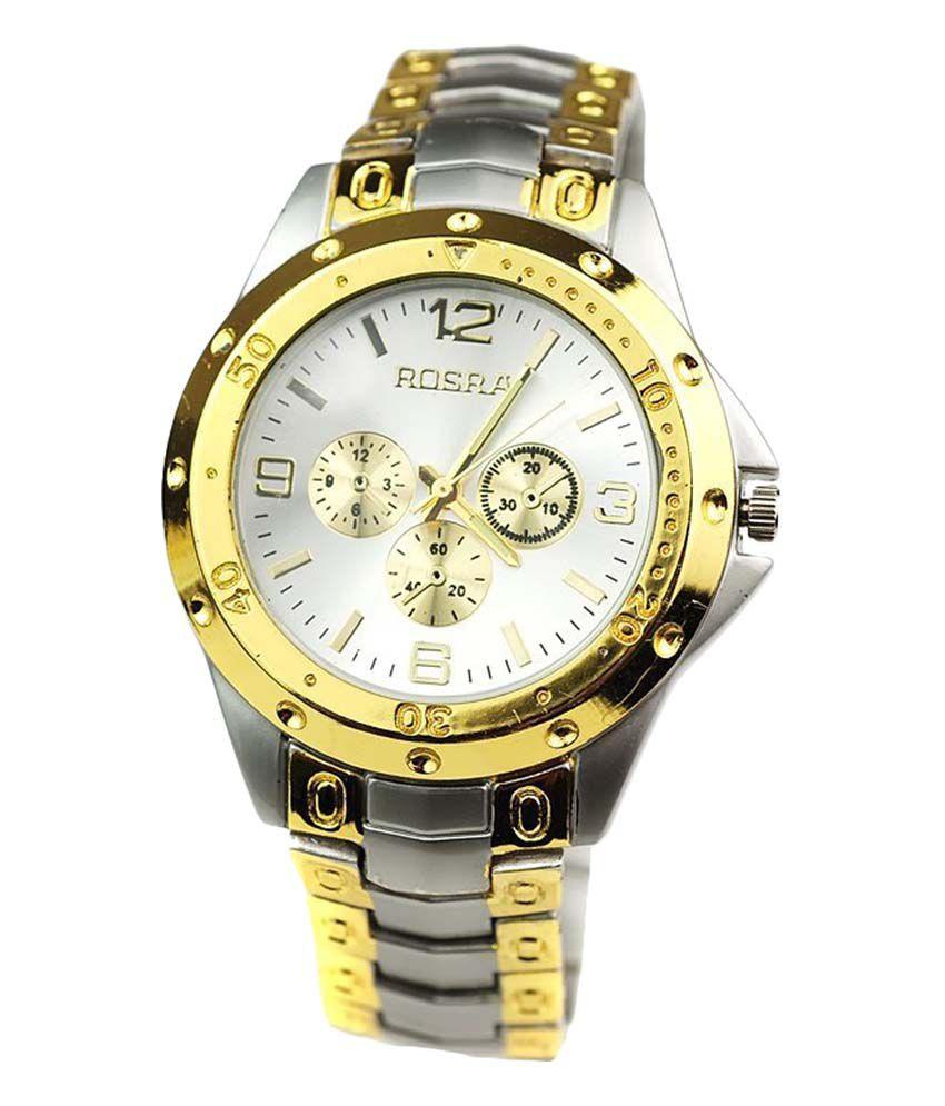 Rexus rosra gold metal strap analog mens watch buy rexus rosra gold metal strap analog mens for Rosra watches
