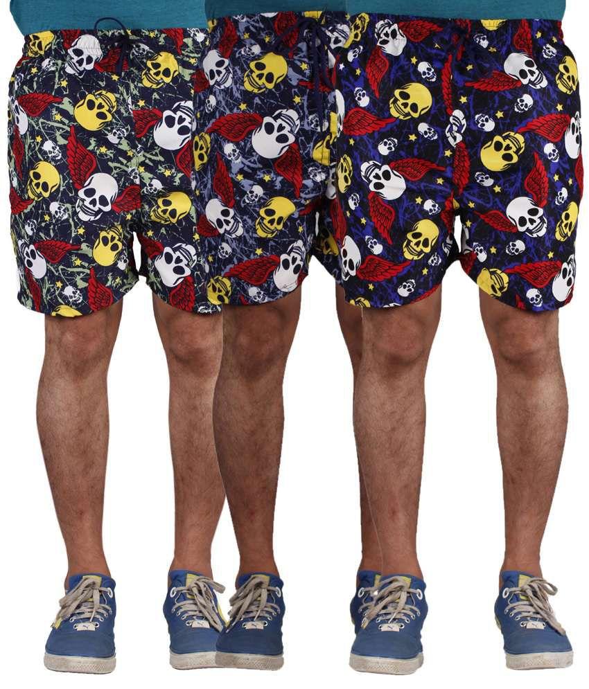 American-Elm Men's Skull Printed Multi-Coloured Shorts-Combo Of 3