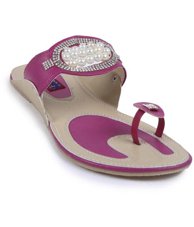 Pratibha Kolapuri Pink Brown Flat Slippers