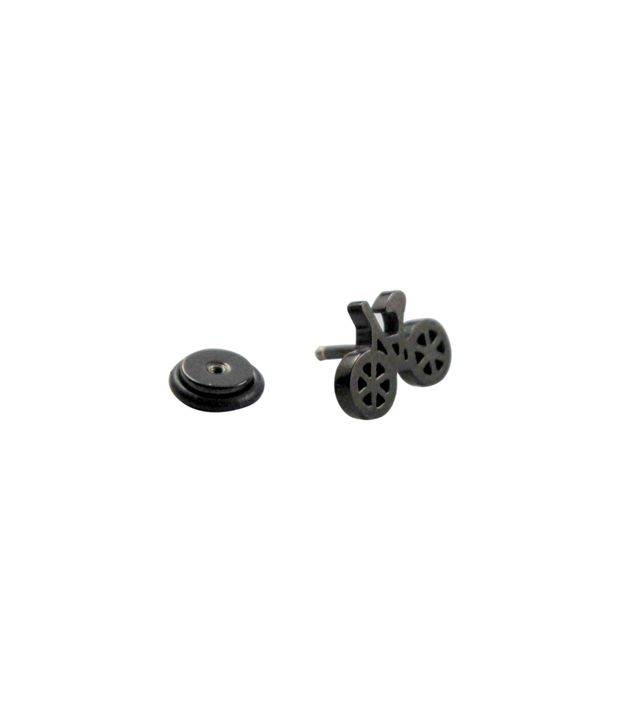 Wise Pebbles Black Cycle Stainless Steel Single Ear Stud For Men