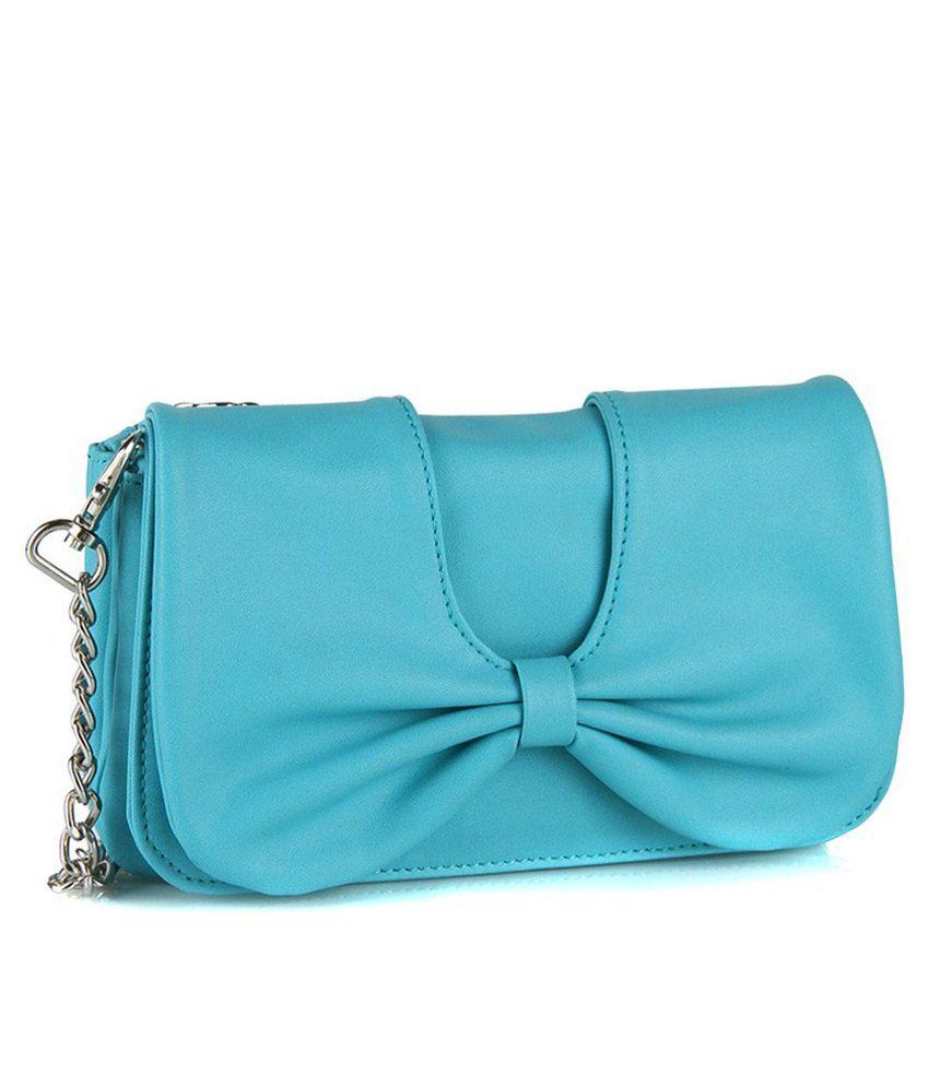 Butterflies Turquoise PU Sling Bag - Buy Butterflies Turquoise PU ...