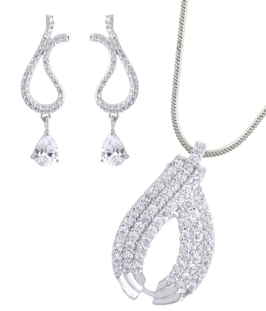 DDPearls Ariana collection sterling silver pendant necklace set for women.
