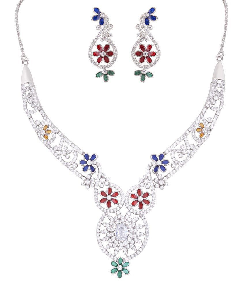 DDPearls Ariana collection sterling silver multicolored AD necklace set for women.