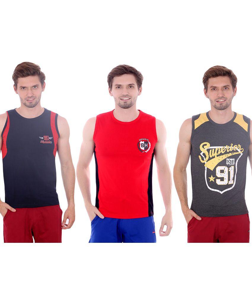 French Twins Sports Wear Sleeveless T-Shirts - 3 Pc Combo