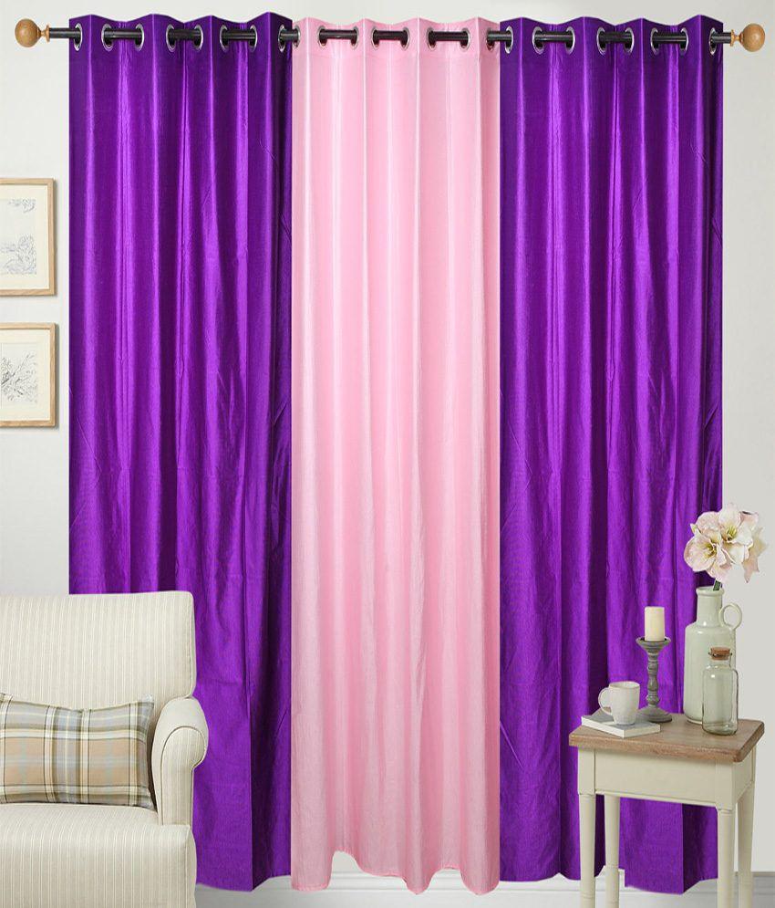 Handloom Hut Set of 3 Door Eyelet Curtains Solid Pink&Purple