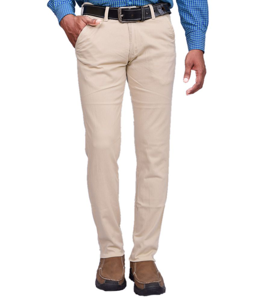 American Noti White Cotton Lycra Casuals Wear Trouser