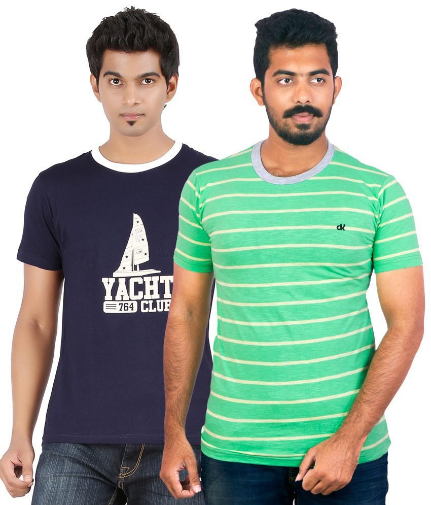Dkclues Blue & Green Round Neck Cotton T-Shirt Pack of 2