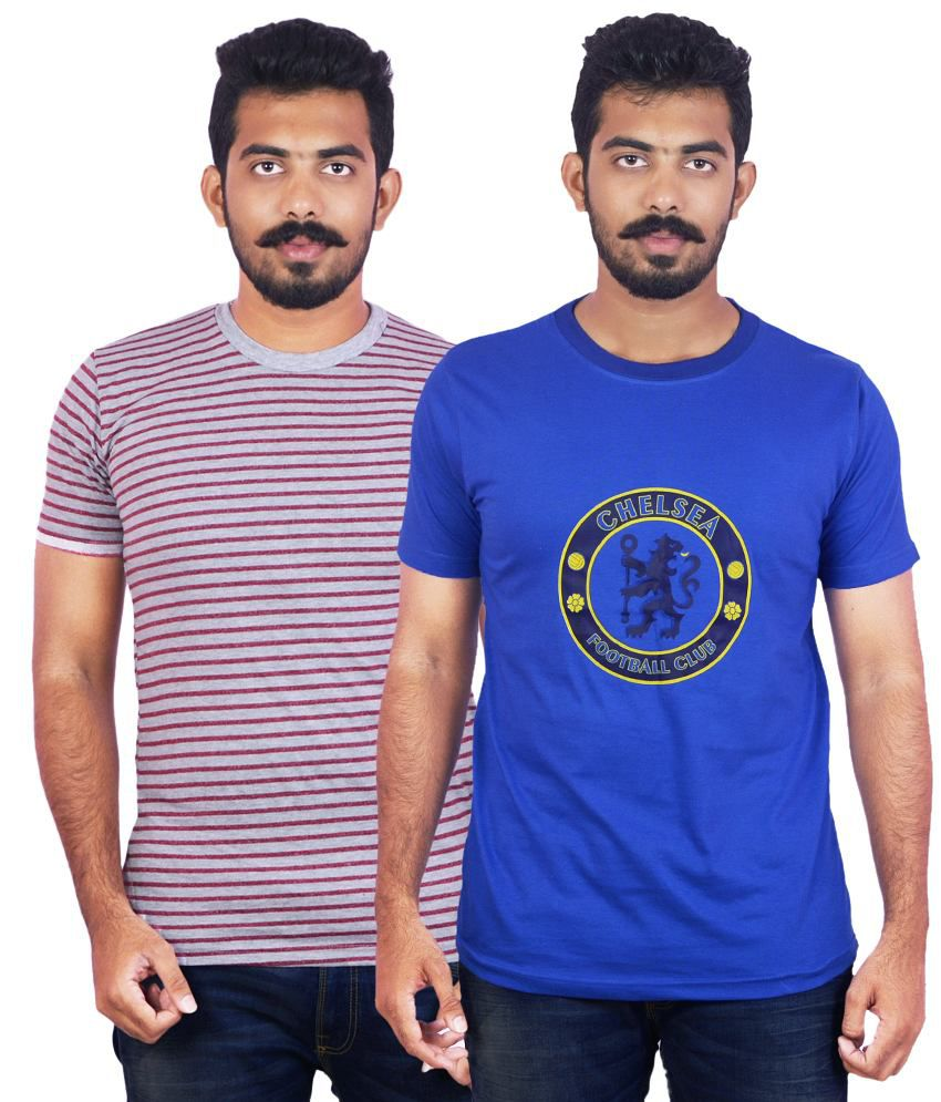 Dkclues Red & Blue Round Neck Cotton T-Shirt Pack of 2