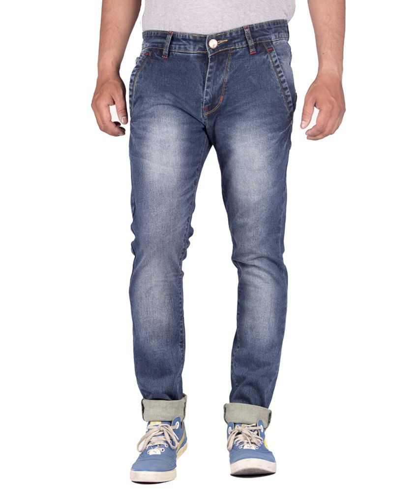 Flying Port Blue Cotton Blend Jeans