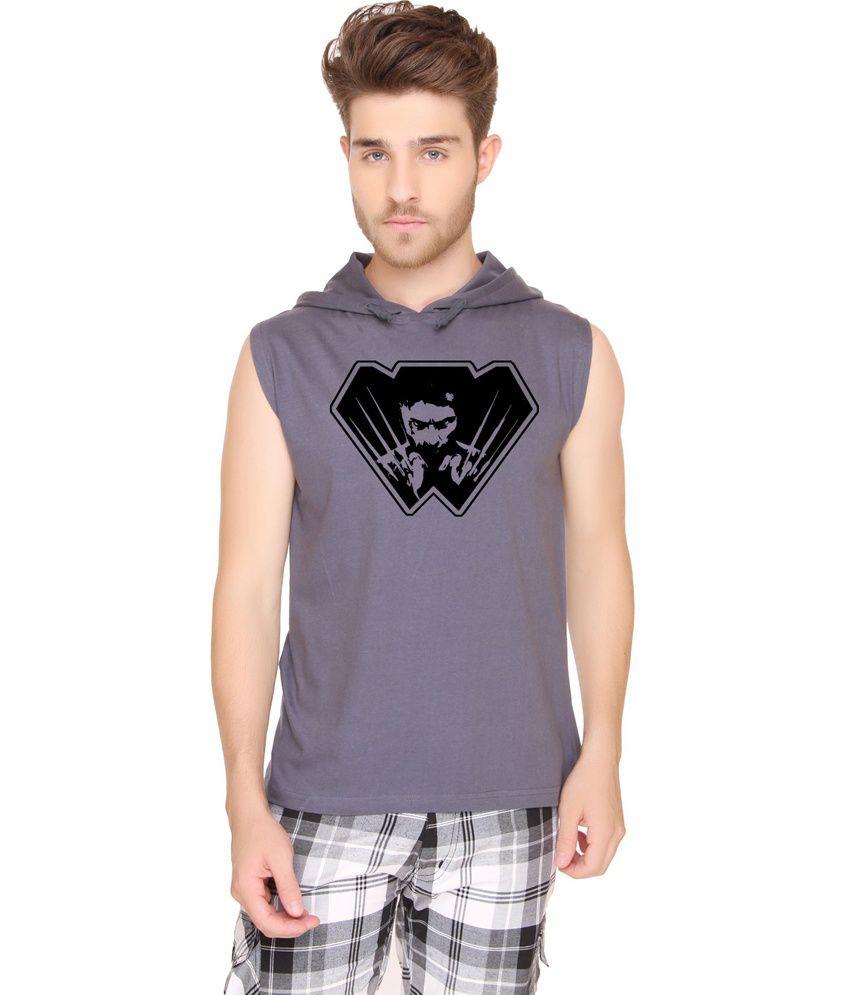 Sayitloud Cotton Wolverine2 Dark Grey Sleeveless Hoodie
