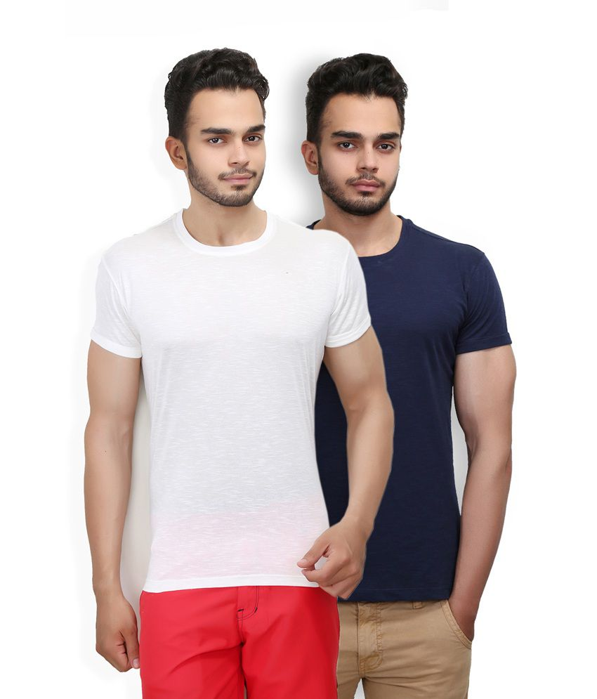 Wear Your Mind White And Navy Cotton Round Neck T Shirt - Pack Of 2