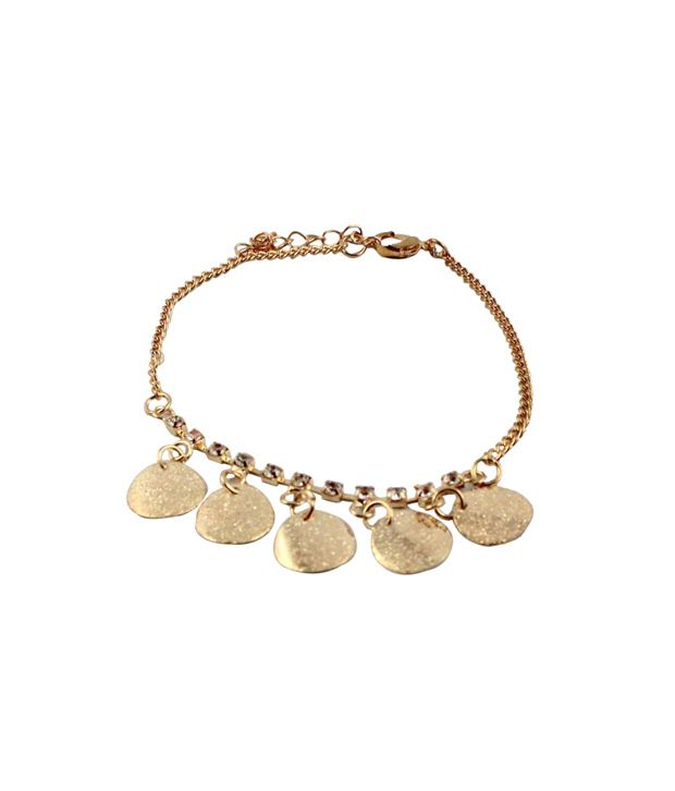 Wise Pebbles Golden Plates and Stone Anklet for Women