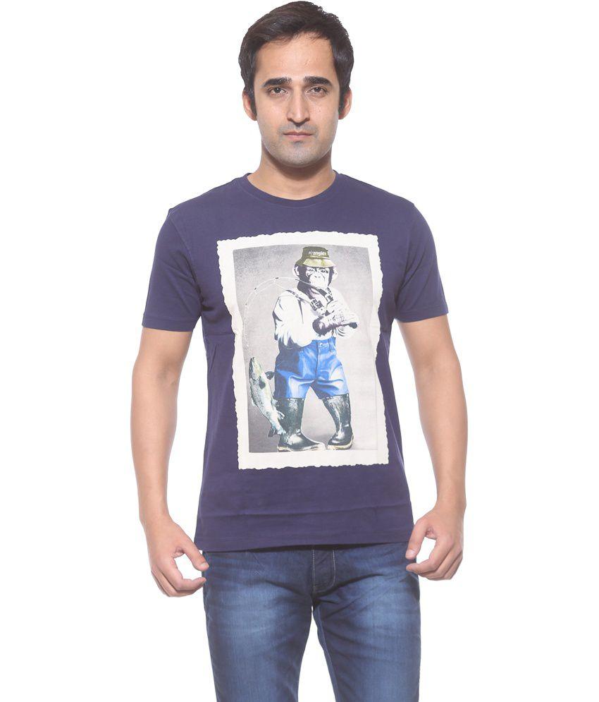 Wrangler Navy Printed Slim Fit T-Shirt