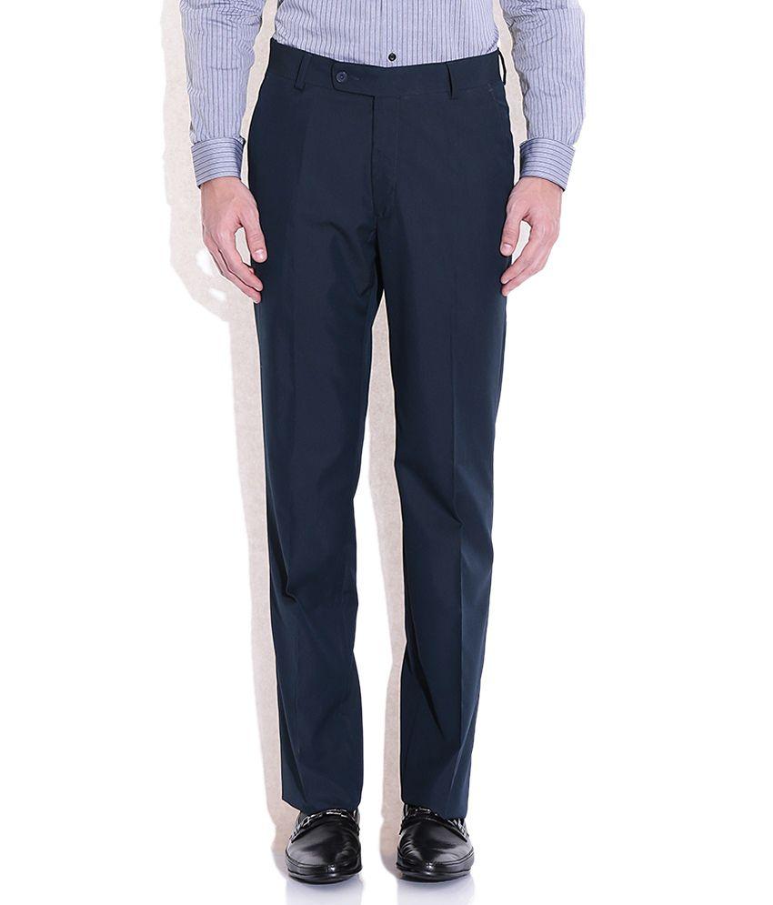 Arrow Navy Regular Fit Formal Trousers