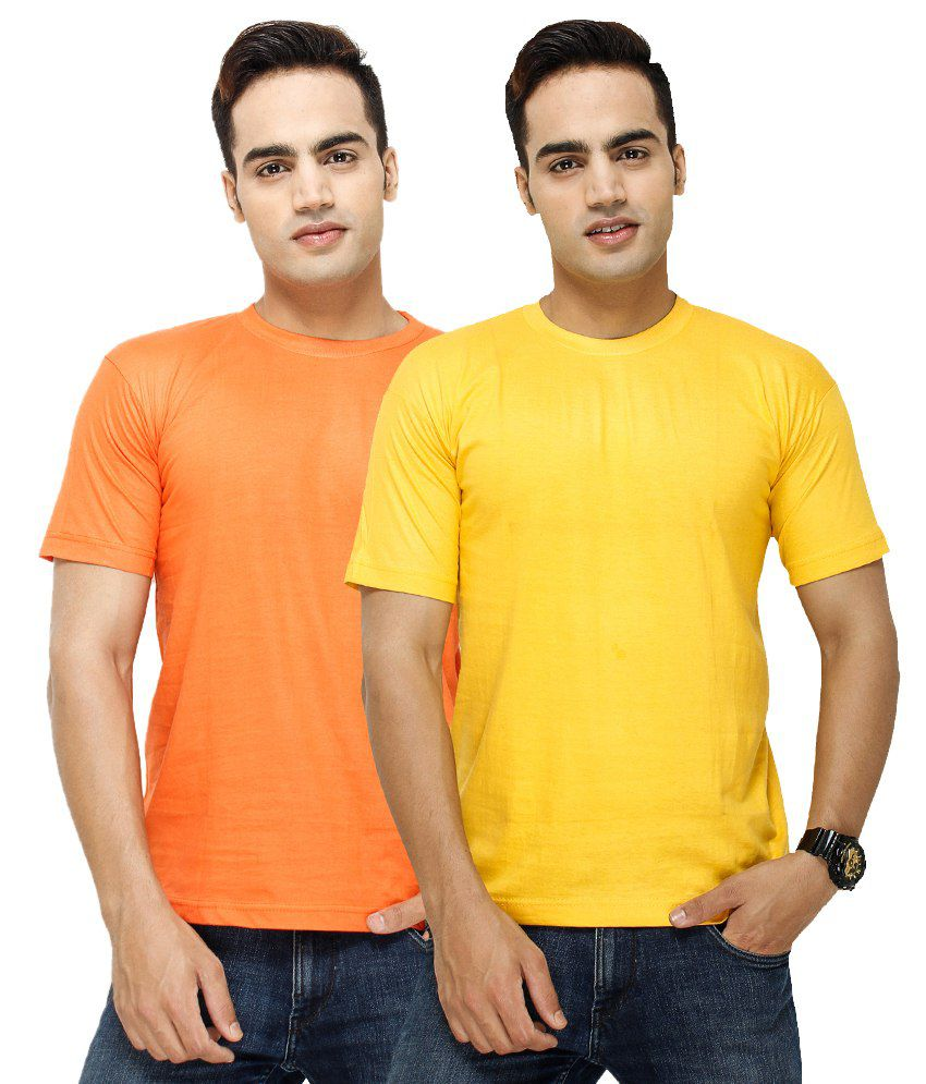 Fashion Enterprises Orange & Yellow T-Shirts - Pack of 2