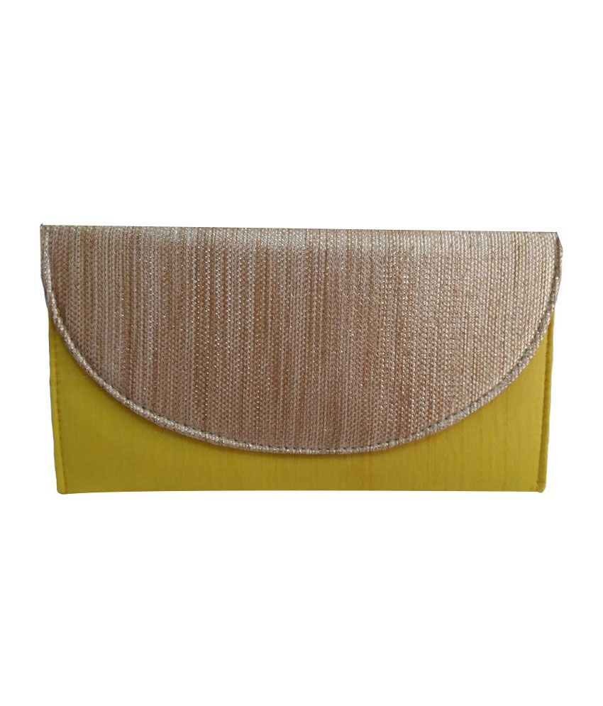 Fine Art Yellow Non Leather Clutch