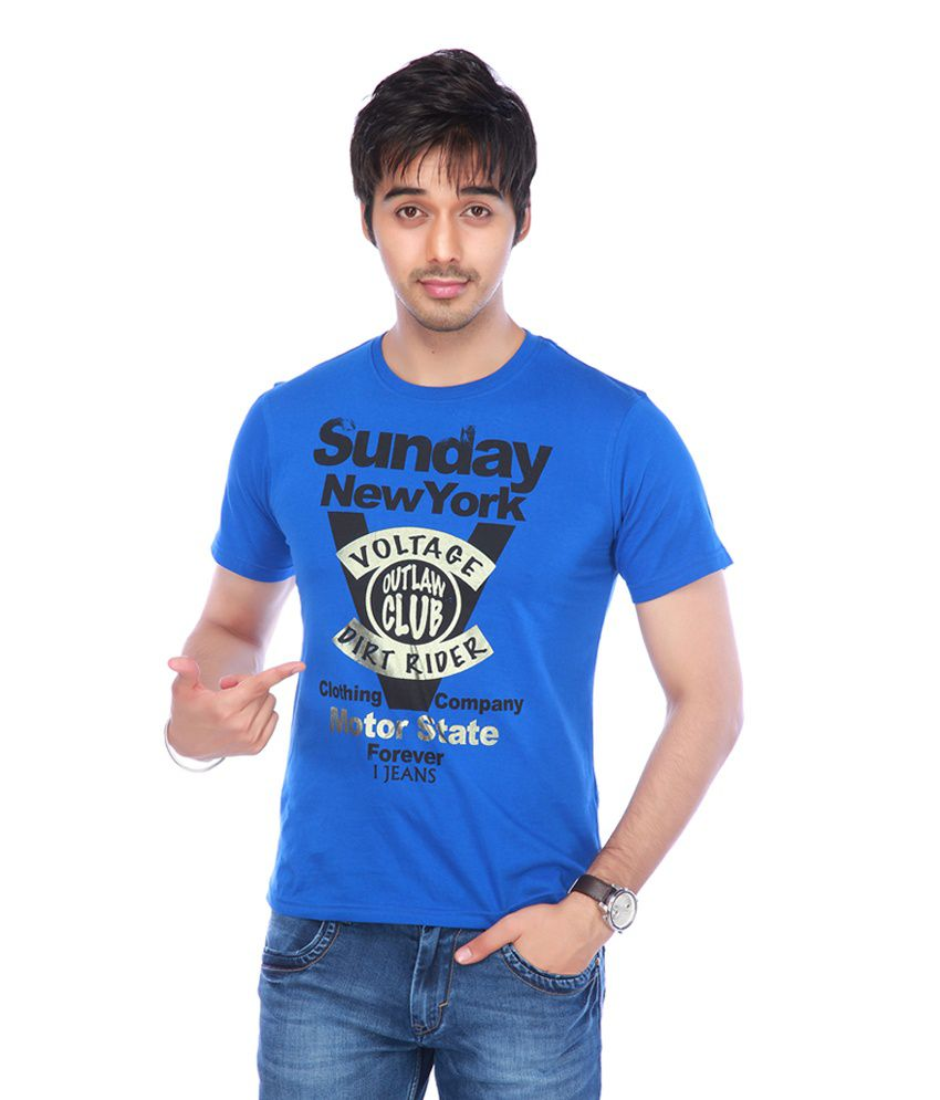 I Jeanswear by Shoppers Stop Blue Cotton Round Neck T-Shirt