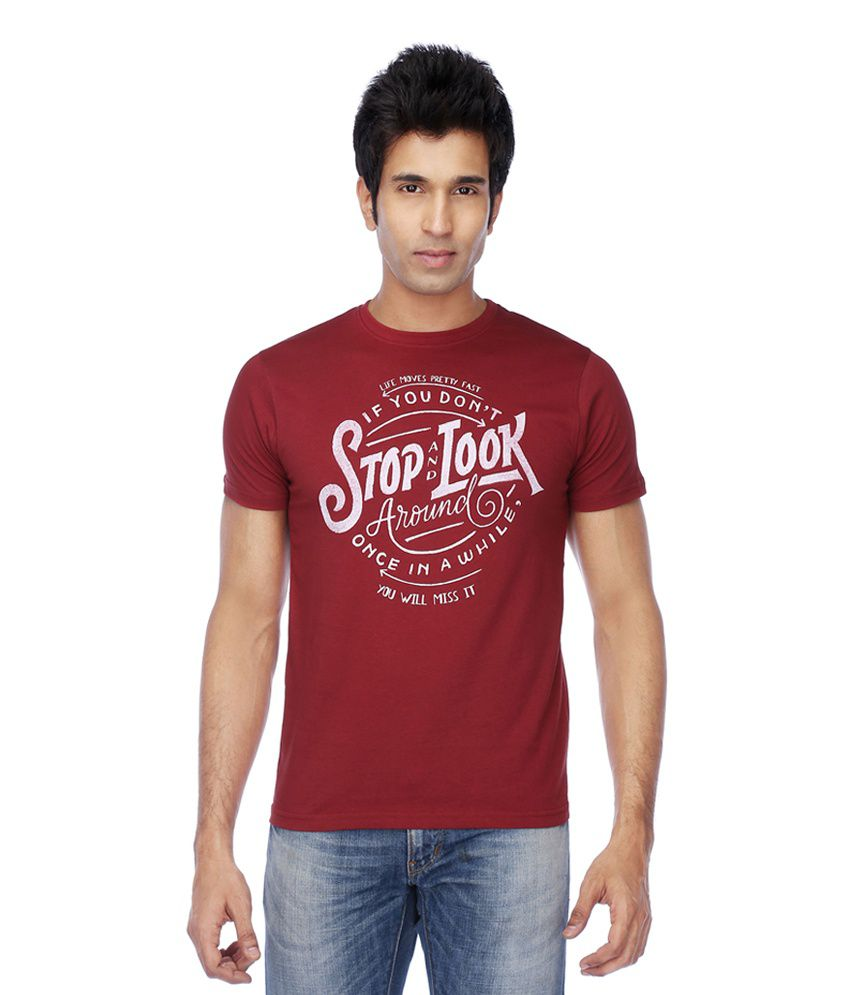 Mario Zegnoti by Shoppers Stop Red Cotton Round Neck Printed T-Shirt