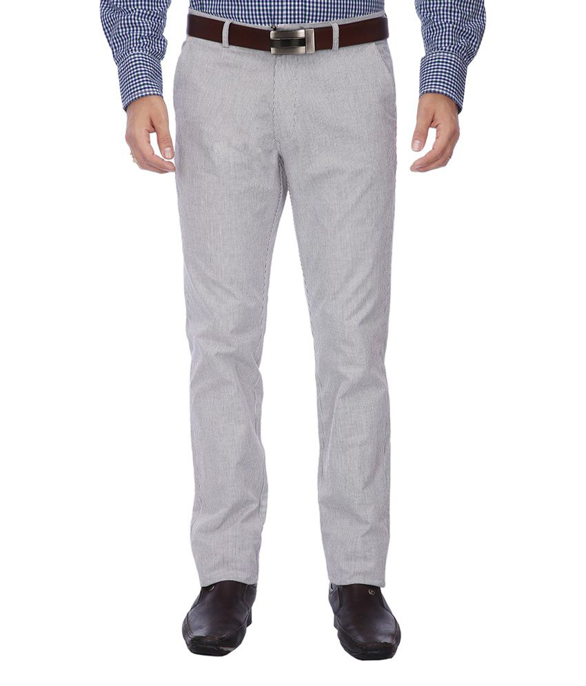 Vettorio Fratini by Shoppers Stop Gray Cotton Formal Pants