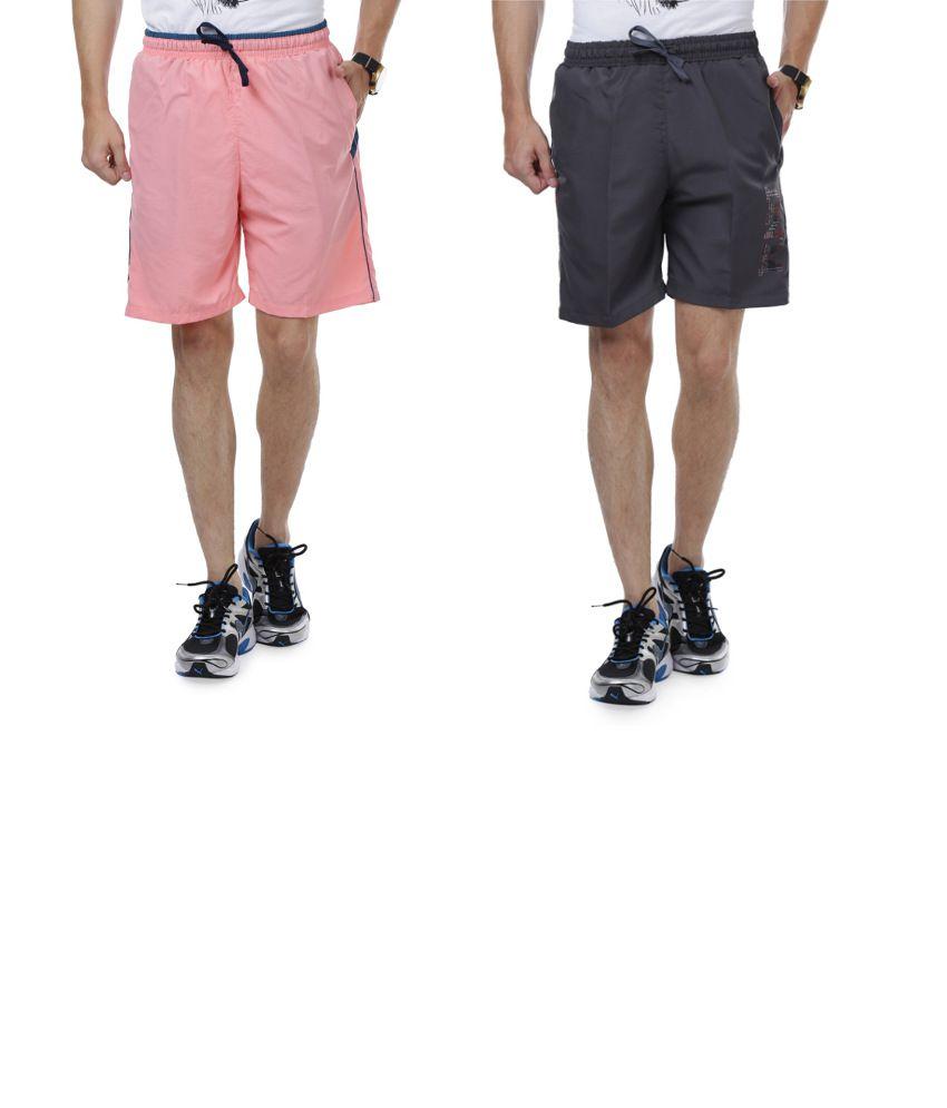 Nu9 Combo of Gray & Pink Shorts