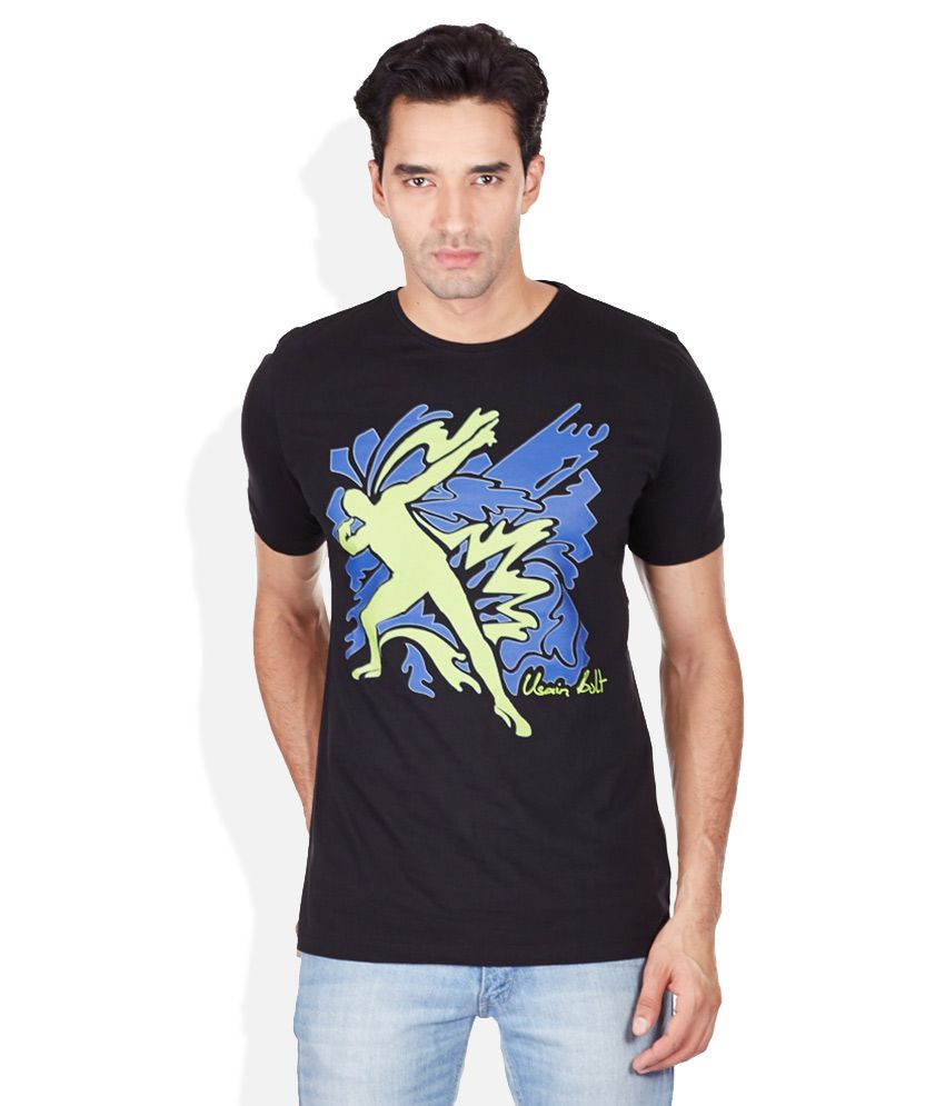 Puma Black Printed Round Neck T-Shirt