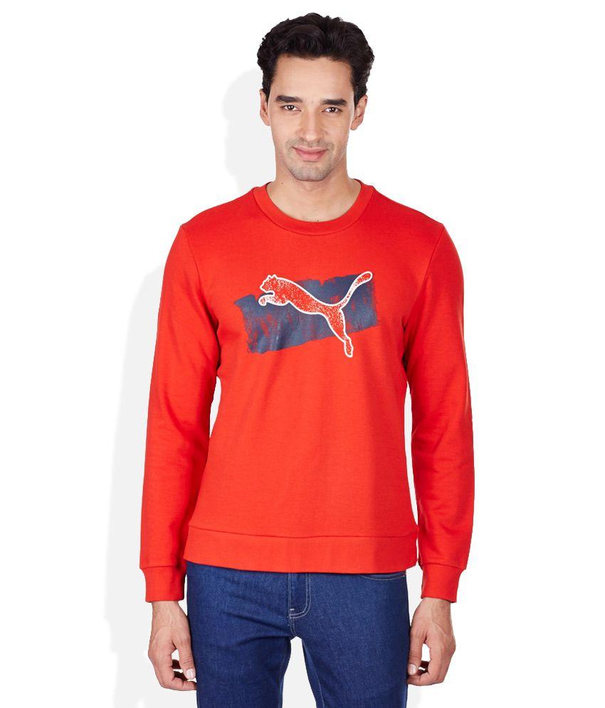 Puma Red Printed Round Neck T-Shirt