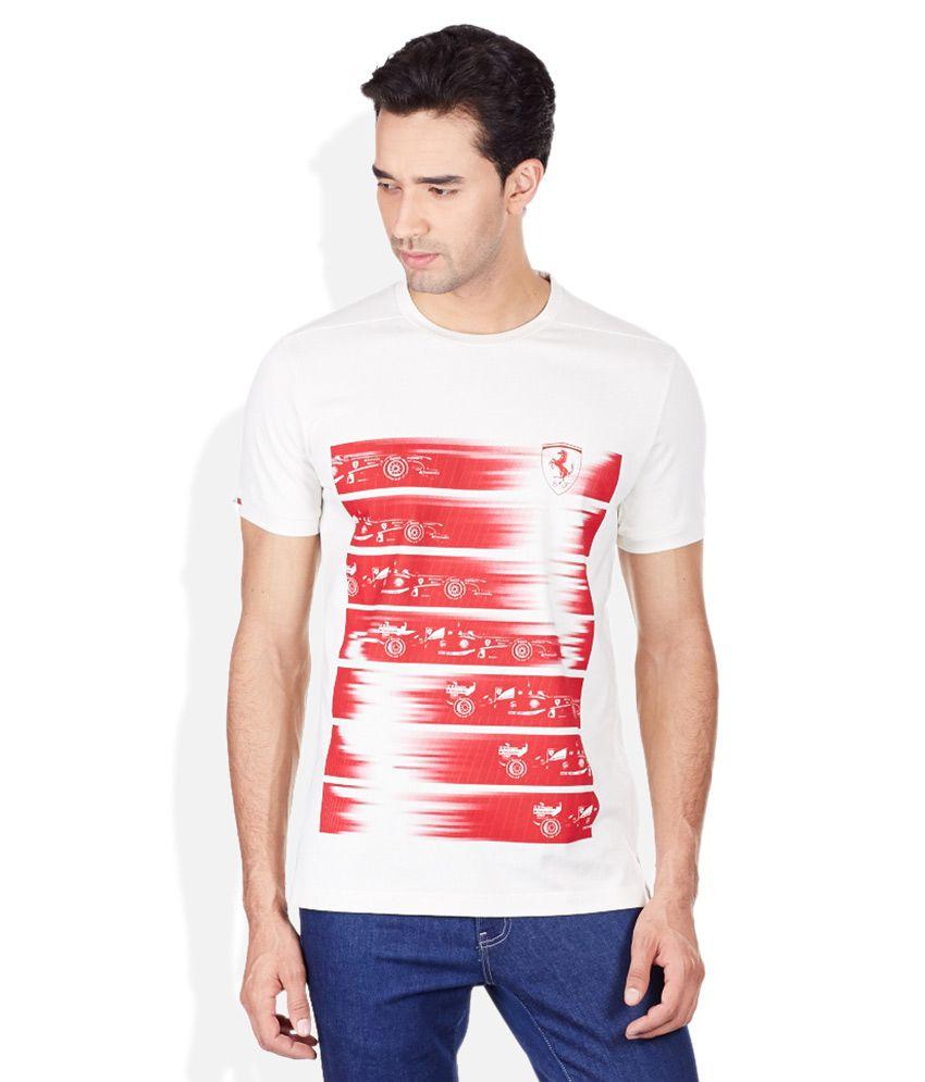 Puma White Printed Round Neck T-Shirt