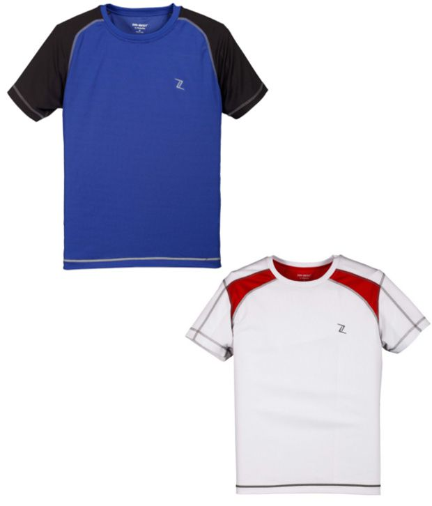 Zobello Blue And White Polyester T-shirts (Combo Of 2)