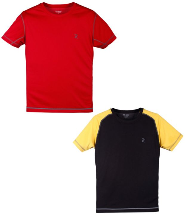 Zobello Red And Black Polyester T-shirts (Combo Of 2)