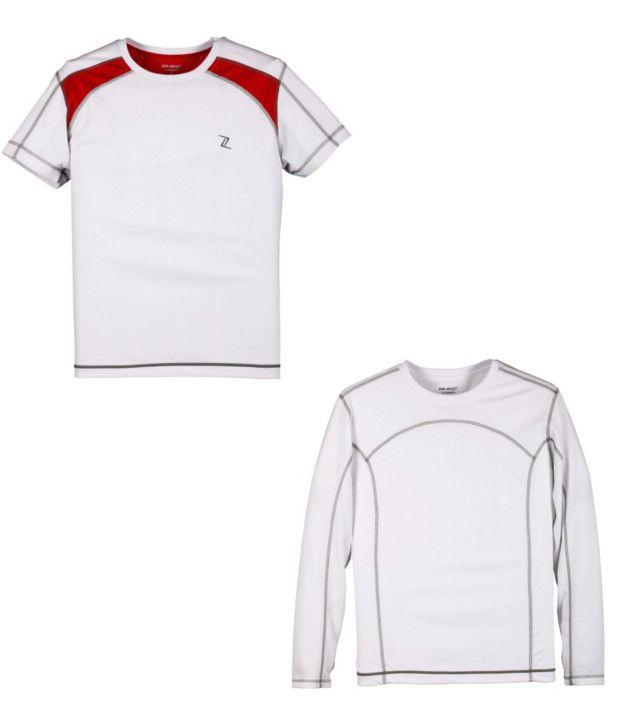Zobello White Polyester T-shirts (Combo Of 2)