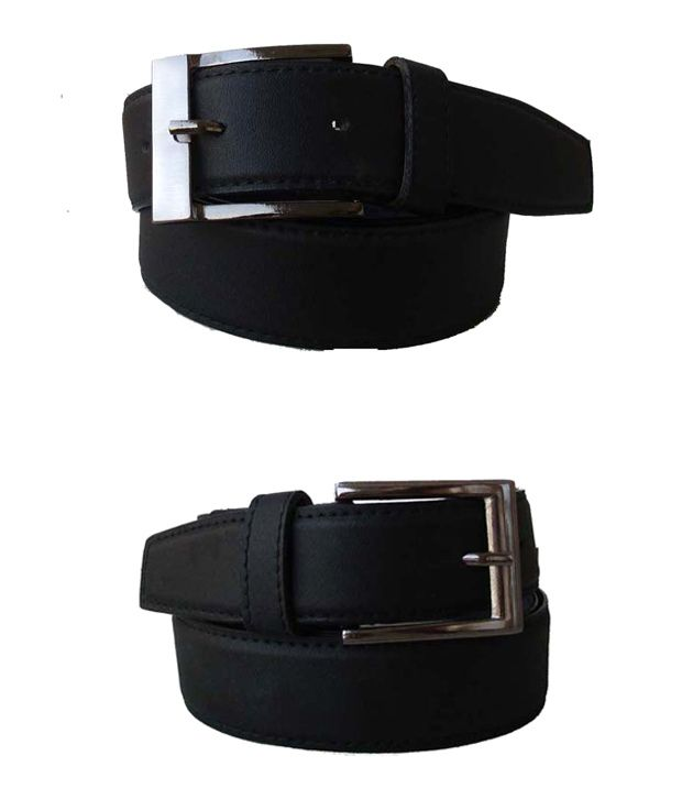 Klaska Combo of 2 Genuine Faux Leather Black Belts