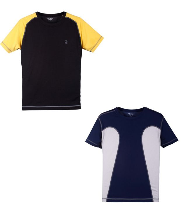 Zobello Black And Navy Polyester T-shirts (Combo Of 2)