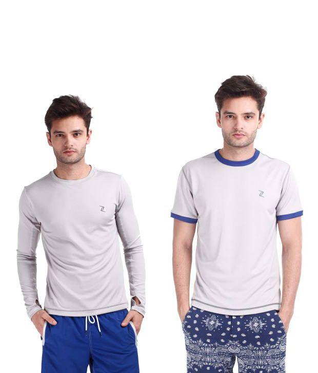 Zobello Gray Polyester T-shirts (Combo Of 2)