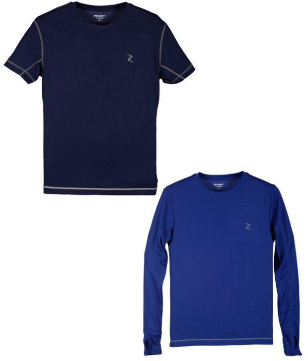 Zobello Navy And Blue Polyester T-shirts (Combo Of 2)