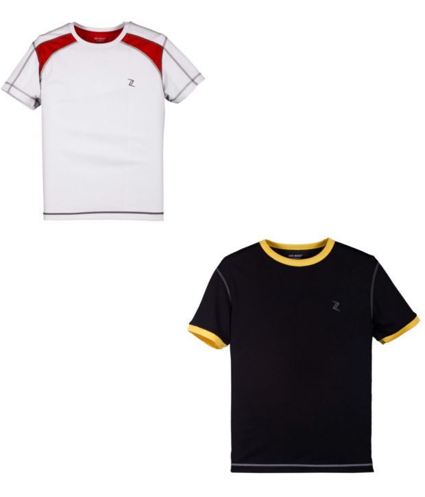 Zobello White And Black Polyester T-shirts (Combo Of 2)