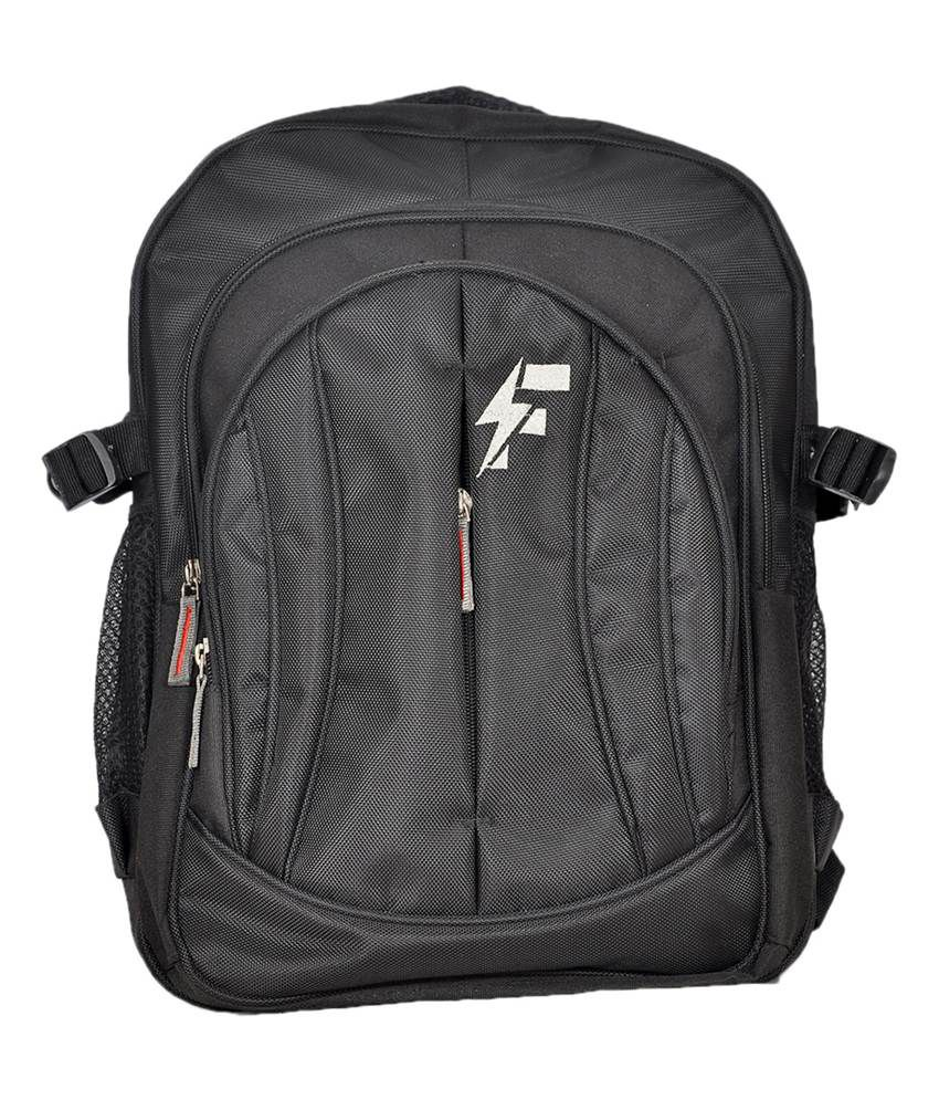 Flute Black Polyester Laptop Backpack