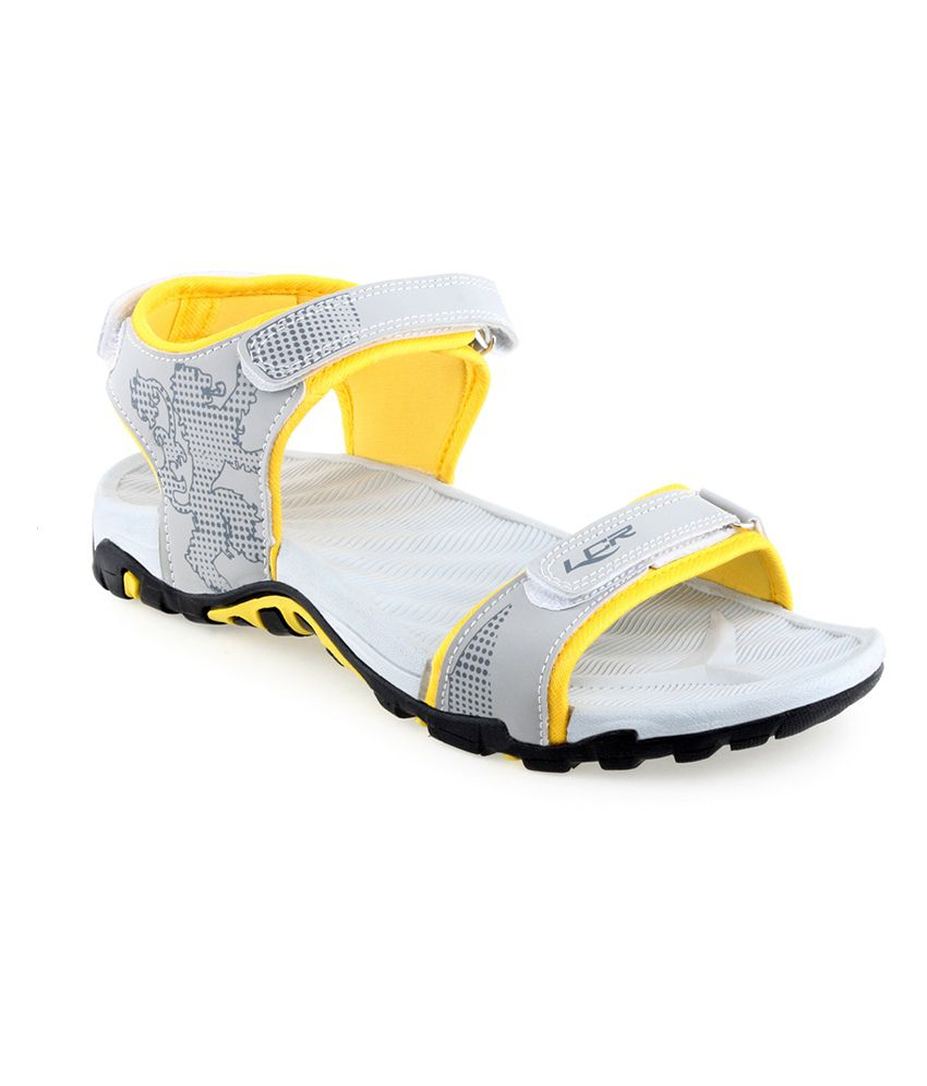 Lancer Grey & Yellow Velcro Floater Sandals  available at snapdeal for Rs.497