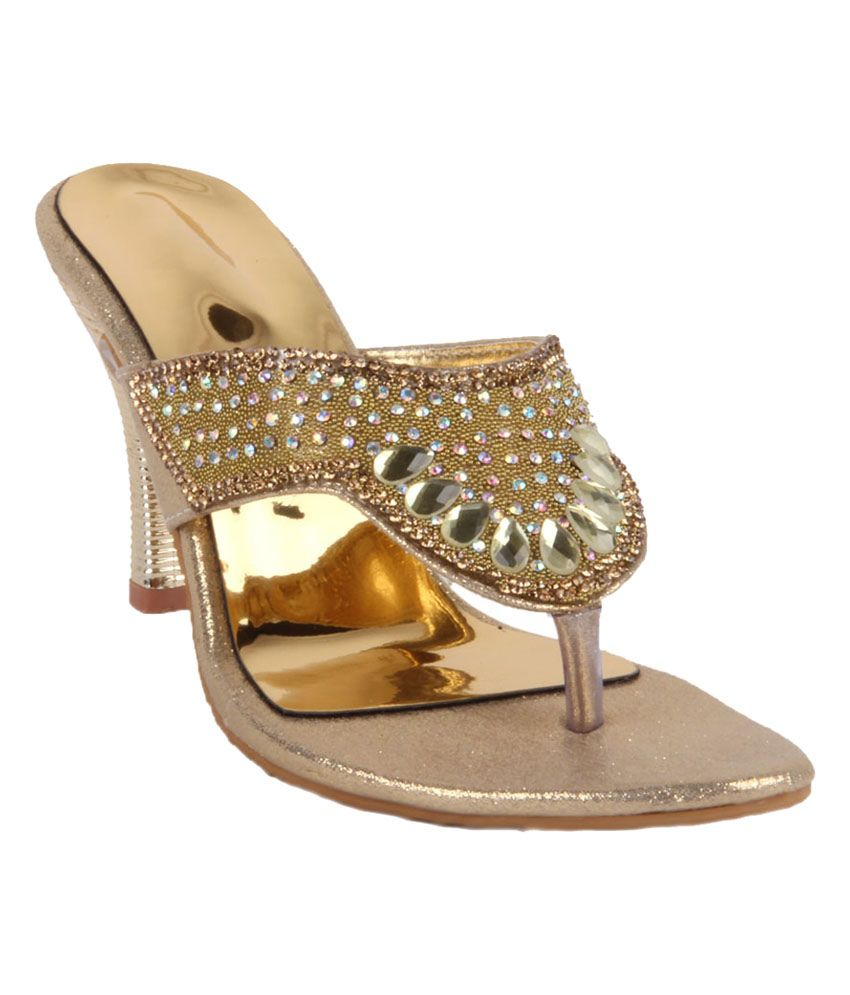 Ninelifestyle Gold Faux Leather High Heel Sandals
